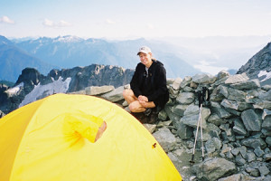Craig making camp on Shuksan